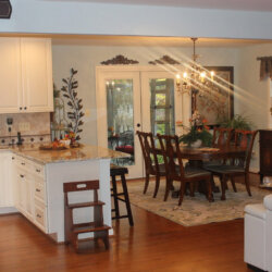 Open kitchen connected to dining room
