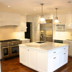 Kitchen island with white cabinets
