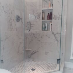 Glass corner shower in Arlington, VA remodeled bathroom