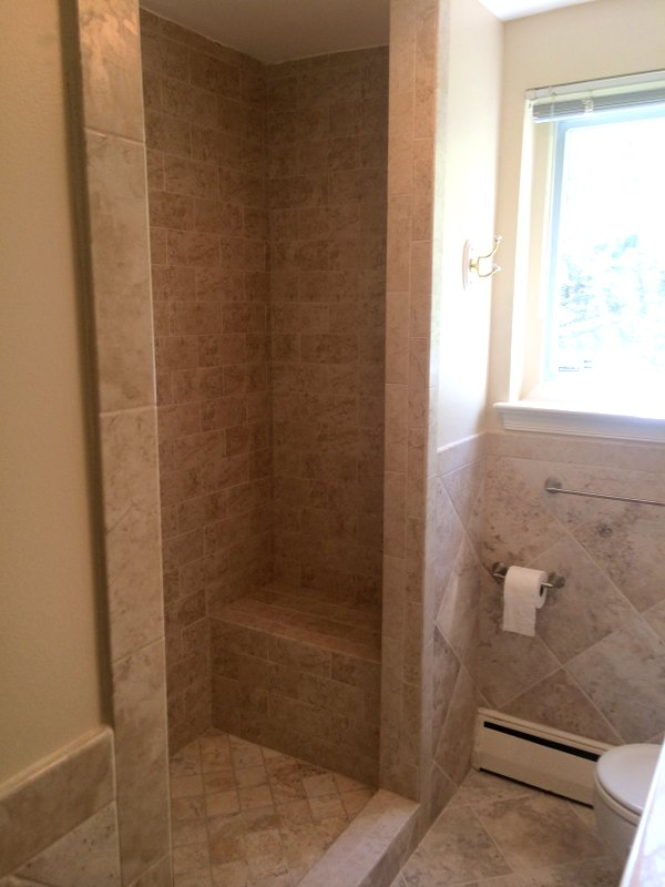 Beige Tile Shower With Built In Bench