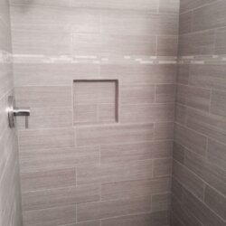 Gray tile shower