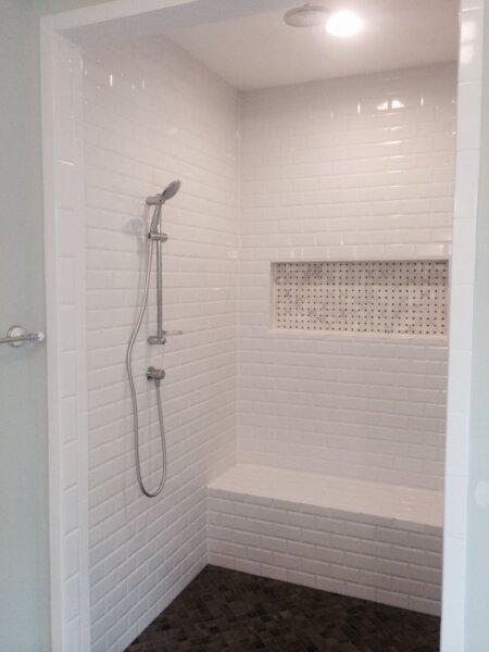 white tile shower barrier free
