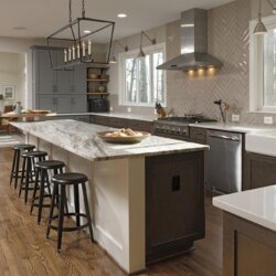 Island with stool seating in Leesburg kitchen