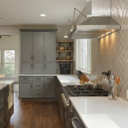 Plenty of storage and counter surface in this remodeled kitchen