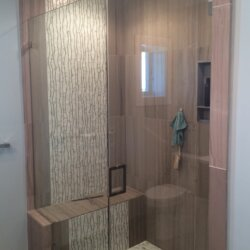Remodeled shower with built-in bench