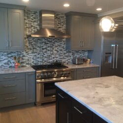 Modern kitchen with matchstick tile backsplash