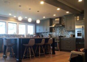 Modern gray and black kitchen