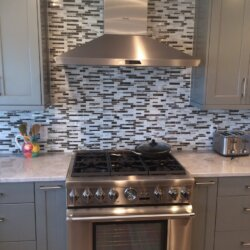 Stainless steel gas range in kitchen
