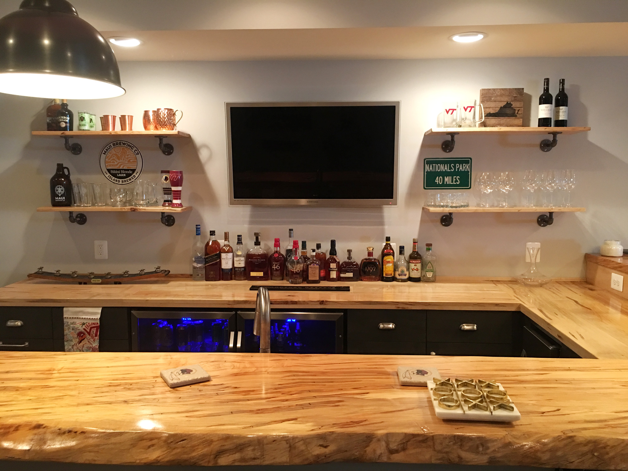 Home Bar In Finished Bat With Natural Edge Wood Top