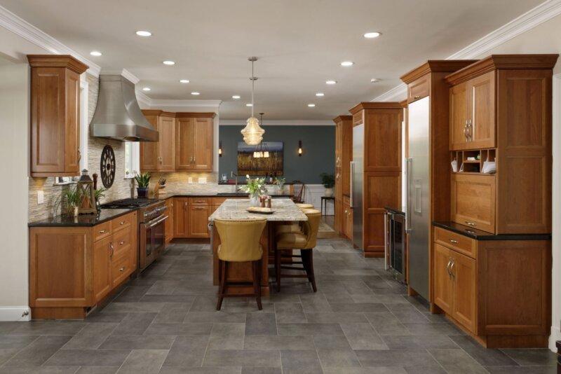 Wide shot of open floor plan remodeled kitchen