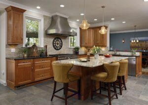 Remodeled kitchen with island seating