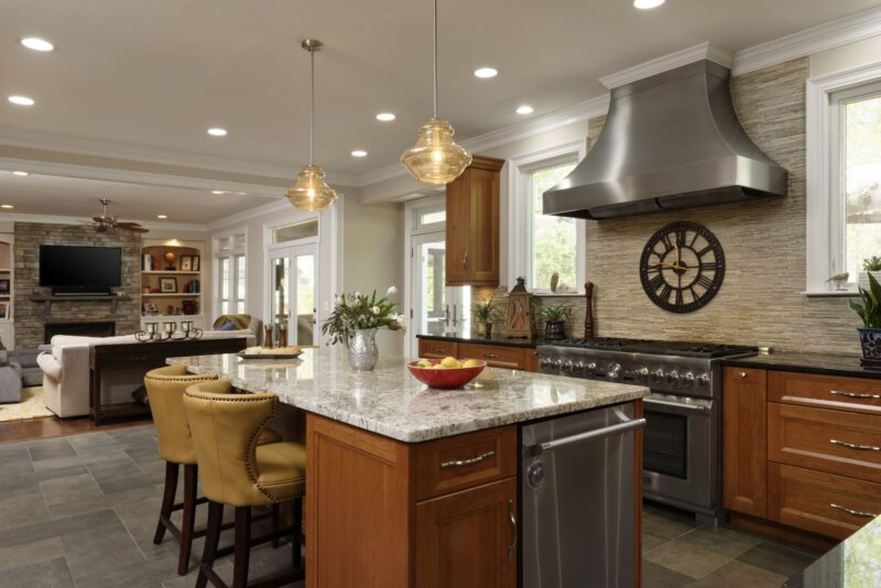 Remodeled kitchen with open floor plan