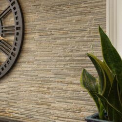 Brown and gray matchstick tile backsplash