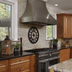 Kitchen range and wood cabinets