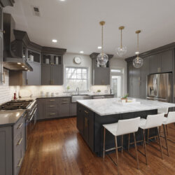 Dark gray cabinets in modern kitchen remodel