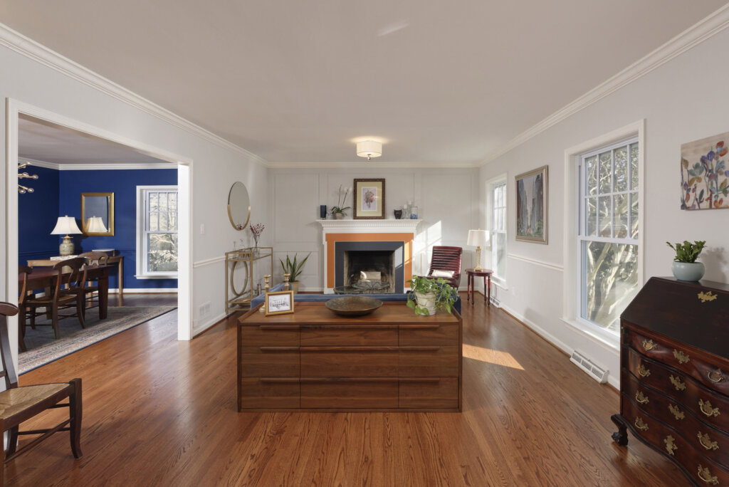 The Living room with fireplace in an Arlington VA whole house remodel