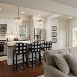One wall kitchen with island seating