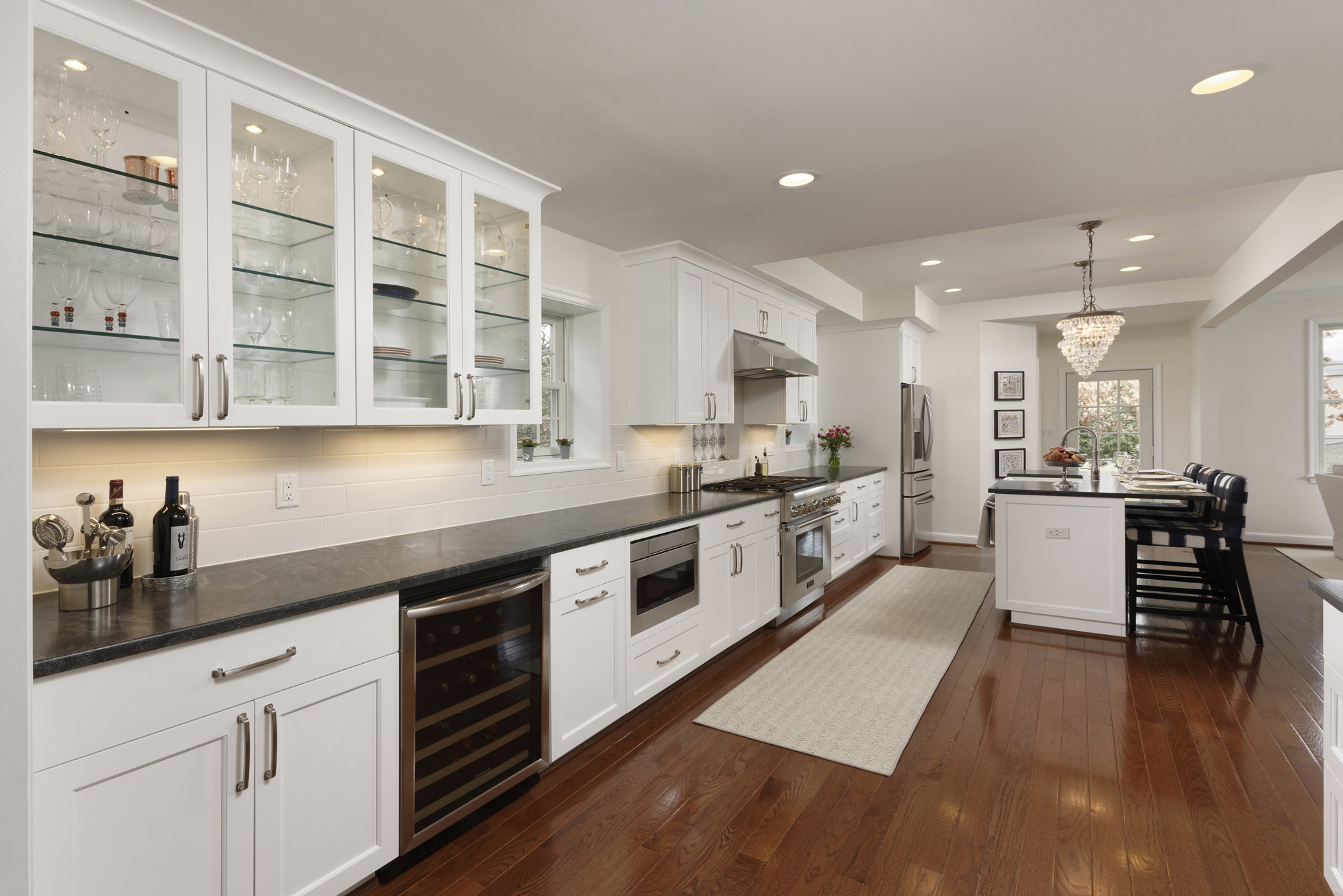 Modern remodeled one wall kitchen