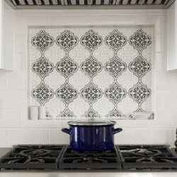 Decorative backsplash behind high end gas range