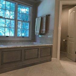 Gray master bathroom tub