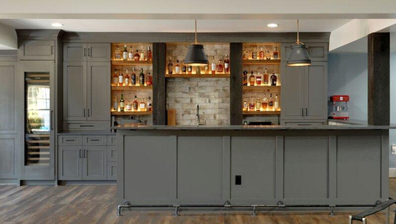 custom shelves and cabinets in Finished Basement Ashburn VA