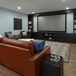 Media room in basement remodel