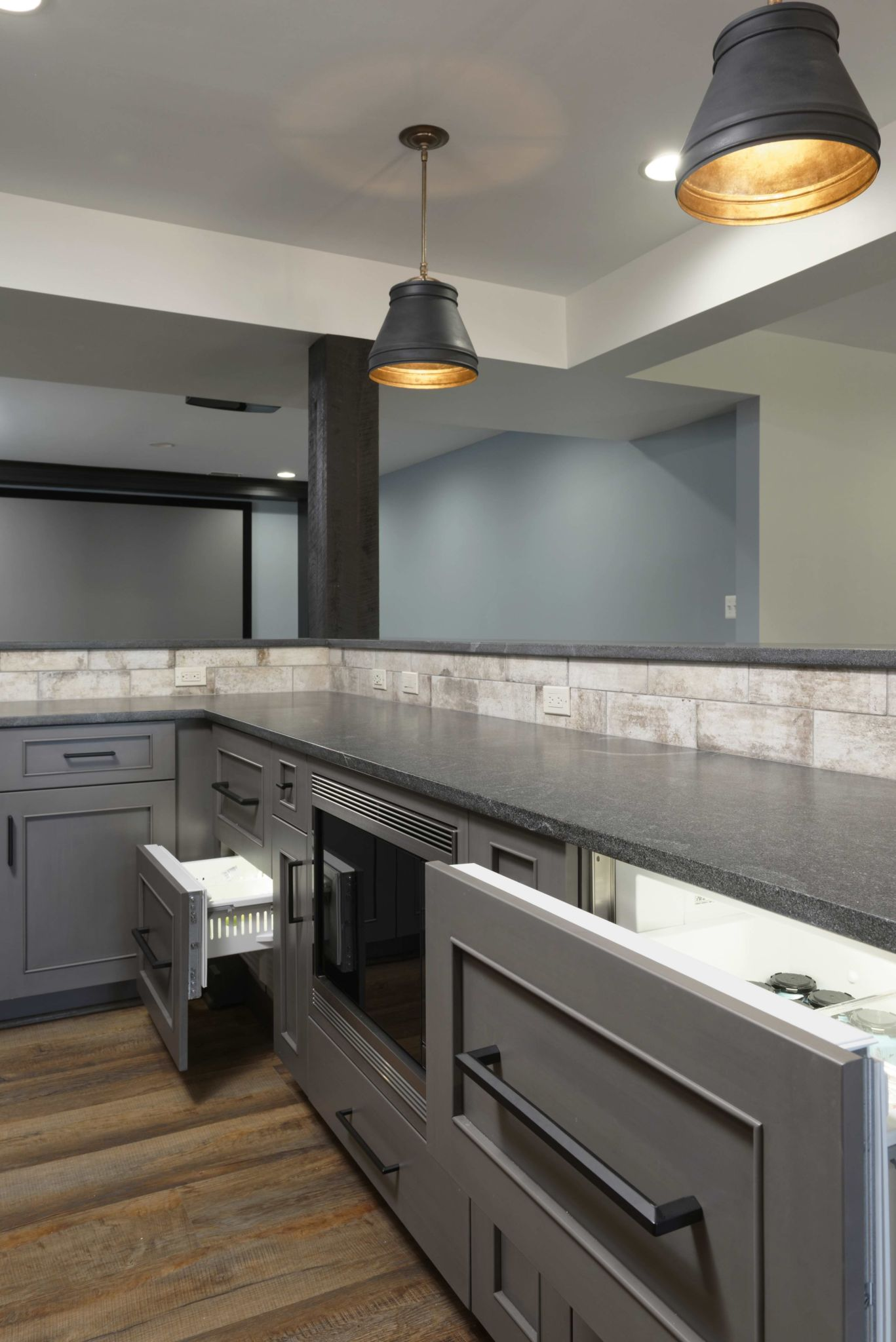 luxury finished basement remodel's wet bar in ashburn va