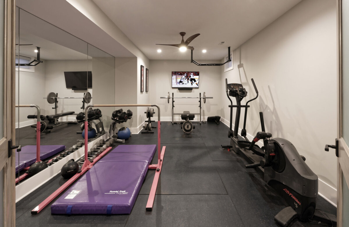 home gym in finished basement remodel in northern virginia