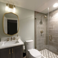 bathroom in finished basement remodel in northern virginia