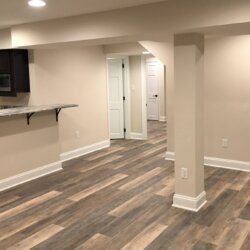 white finished basement in northern VA