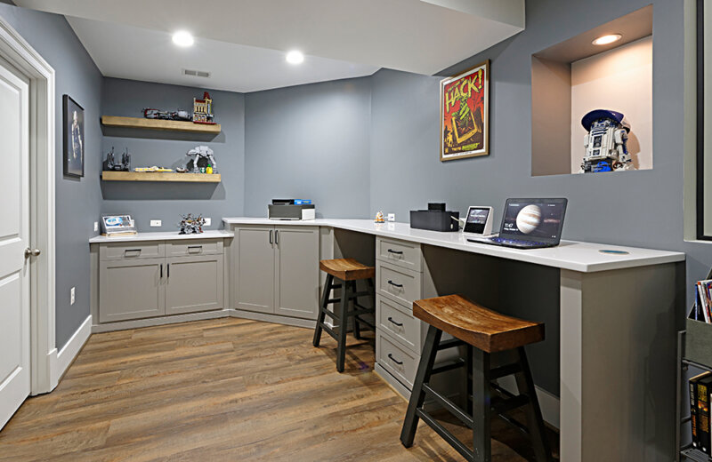 Finished basement home office space
