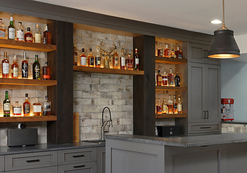 finished basement wet bar by Metro Building & Remodeling