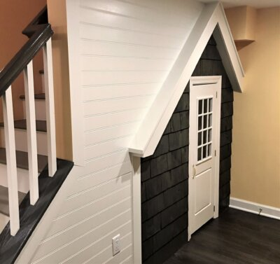 under stairs playhouse in basement remodel