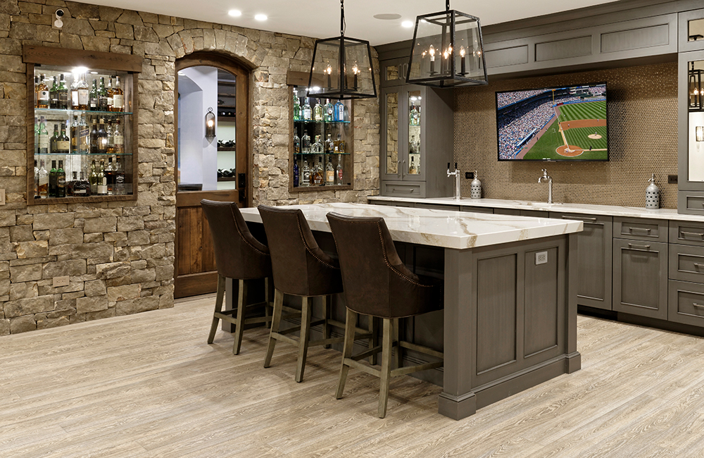 finished basement with wet bar in loudoun county va