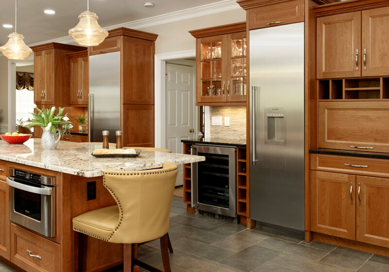 Custom kitchen with stained wood finishes