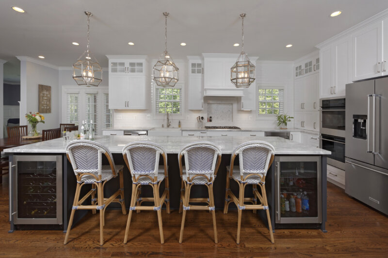 white custom kitchen with large island