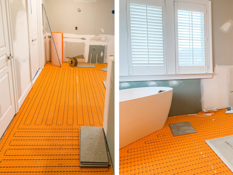Bathroom heated floor installation