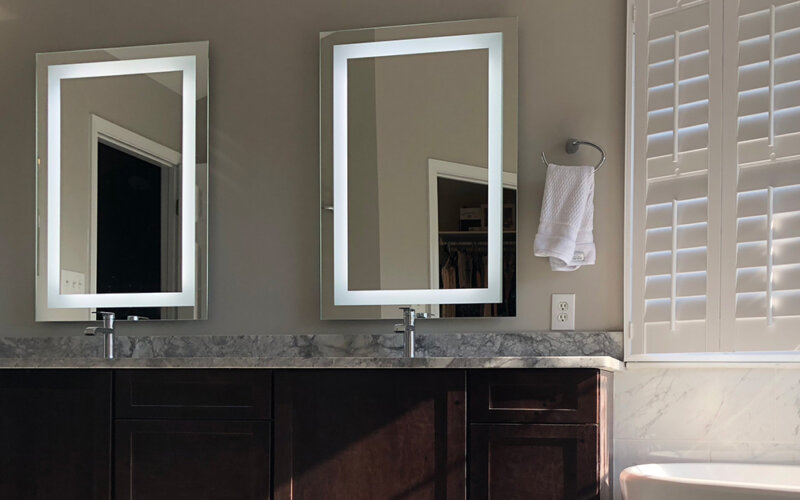 Double vanity and mirrors