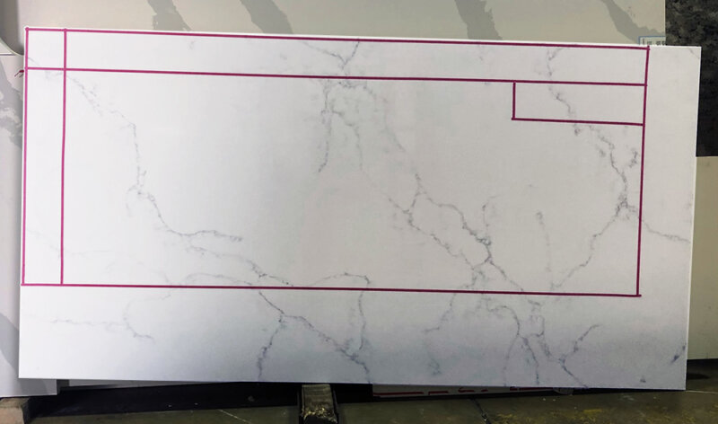 Countertop slab with red outline