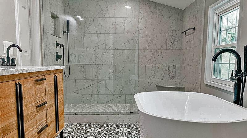 large glass enclosed shower