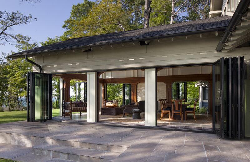 Folding glass panel patio doors